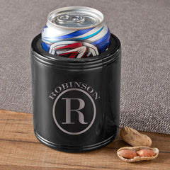 Personalized Can Coolers - Black - Stainless Steel - Groomsmen Gifts-Circle Monogram-
