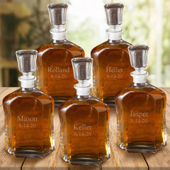 Personalized Set of 5 Whiskey Decanter - Glass - 23 oz. - Set of 5-Groomsmen Gifts