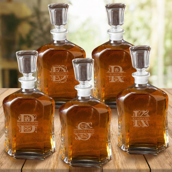 Set of 5 Groomsmen Whiskey Decanters - 23 oz.