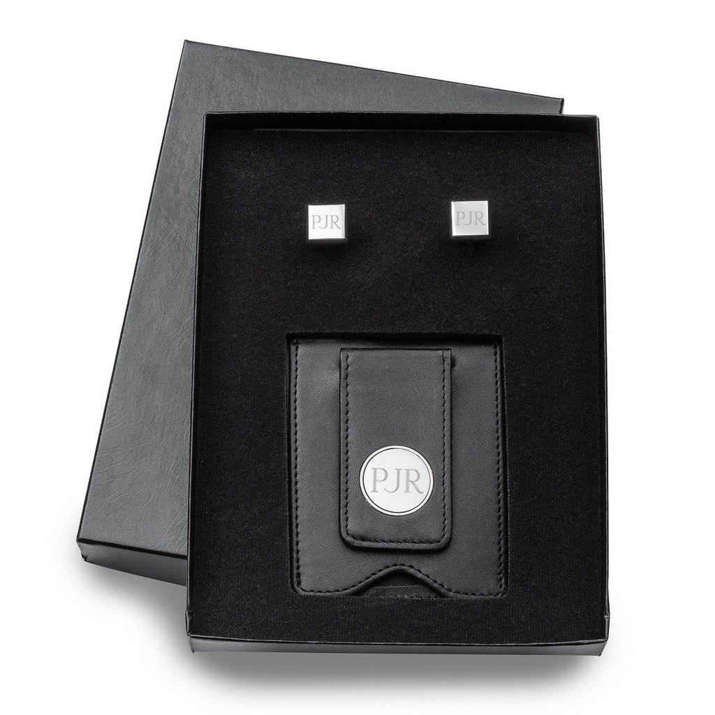 Personalized Wallet Cufflinks Gift Set - Leather