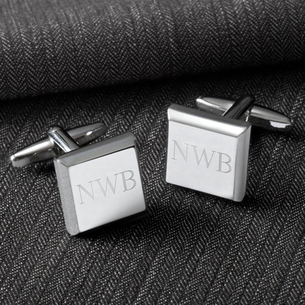 Personalized Square Cufflinks - Silver - Modern