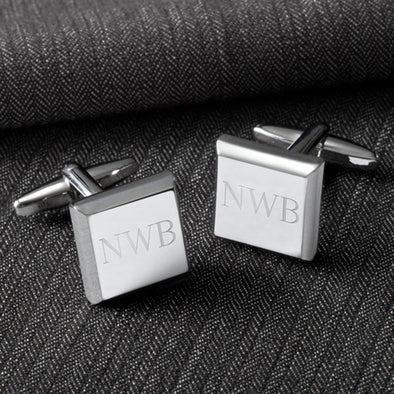 Personalized Cufflinks - Silver - Modern - Square - Groomsmen Gifts-Silver-