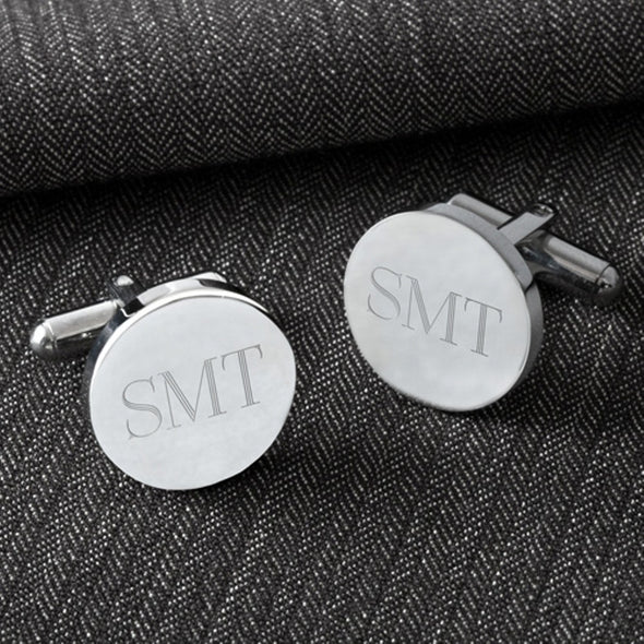 Personalized Cufflinks - Round - Classic - Groomsmen Gifts-Silver-