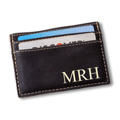 Personalized Black Leatherette Money Clip & Wallet-Groomsmen Gifts