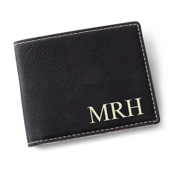 Personalized Leatherette Wallet-Black-
