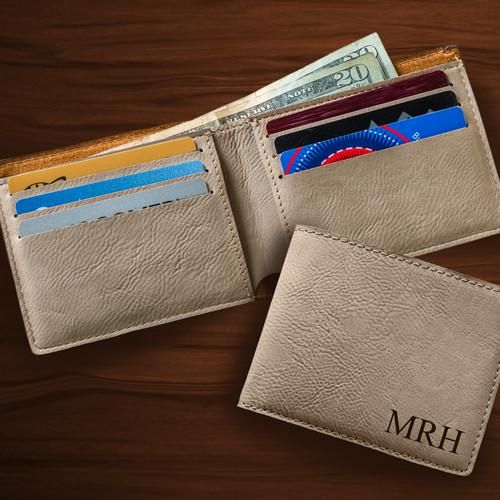 Personalized Leatherette Wallet-Tan-