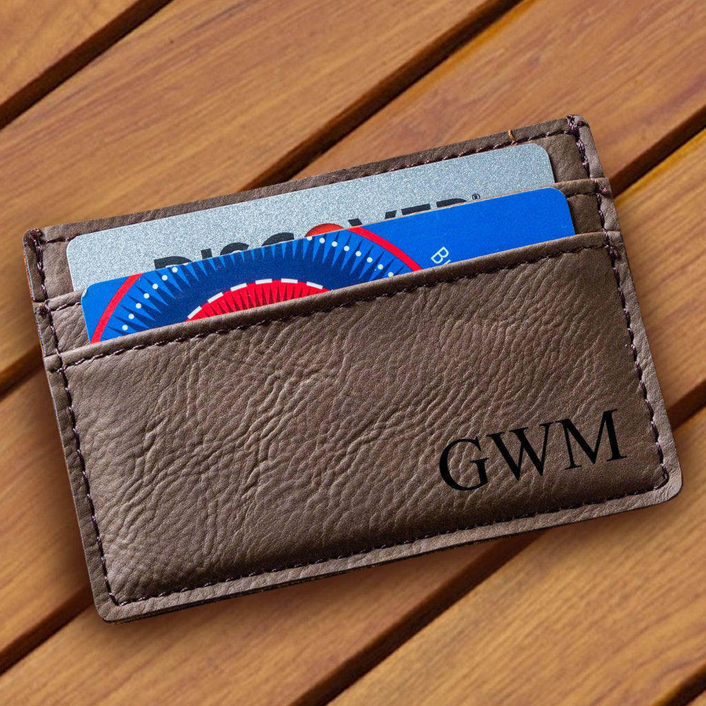 Personalized Dark Brown Leatherette Money Clip & Wallet