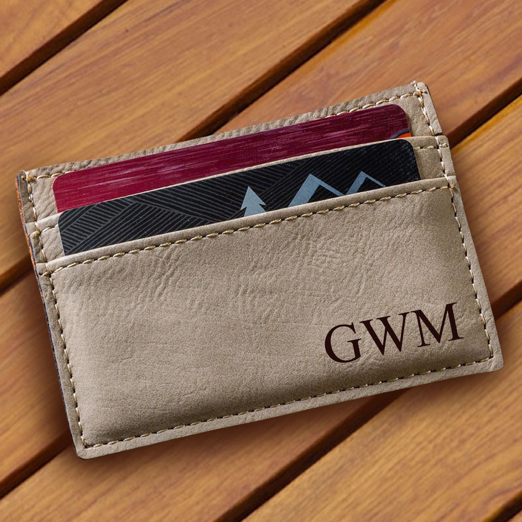 Personalized Tan Leatherette Money Clip & Wallet