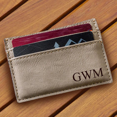 Personalized Tan Leatherette Money Clip & Wallet-Groomsmen Gifts