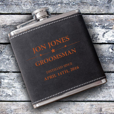 Groomsmen 6oz Suede Flask with Orange Lettering-Distilled-