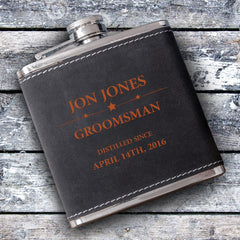 Groomsmen 6oz Suede Flask with Orange Lettering-Groomsmen Gifts