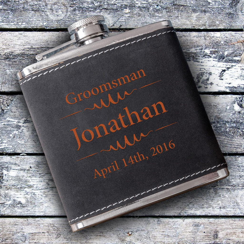 Groomsmen 6oz Suede Flask with Orange Lettering