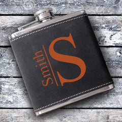 Silverton Monogrammed 6 oz. Stainless Steel and Suede Flask-Modern-