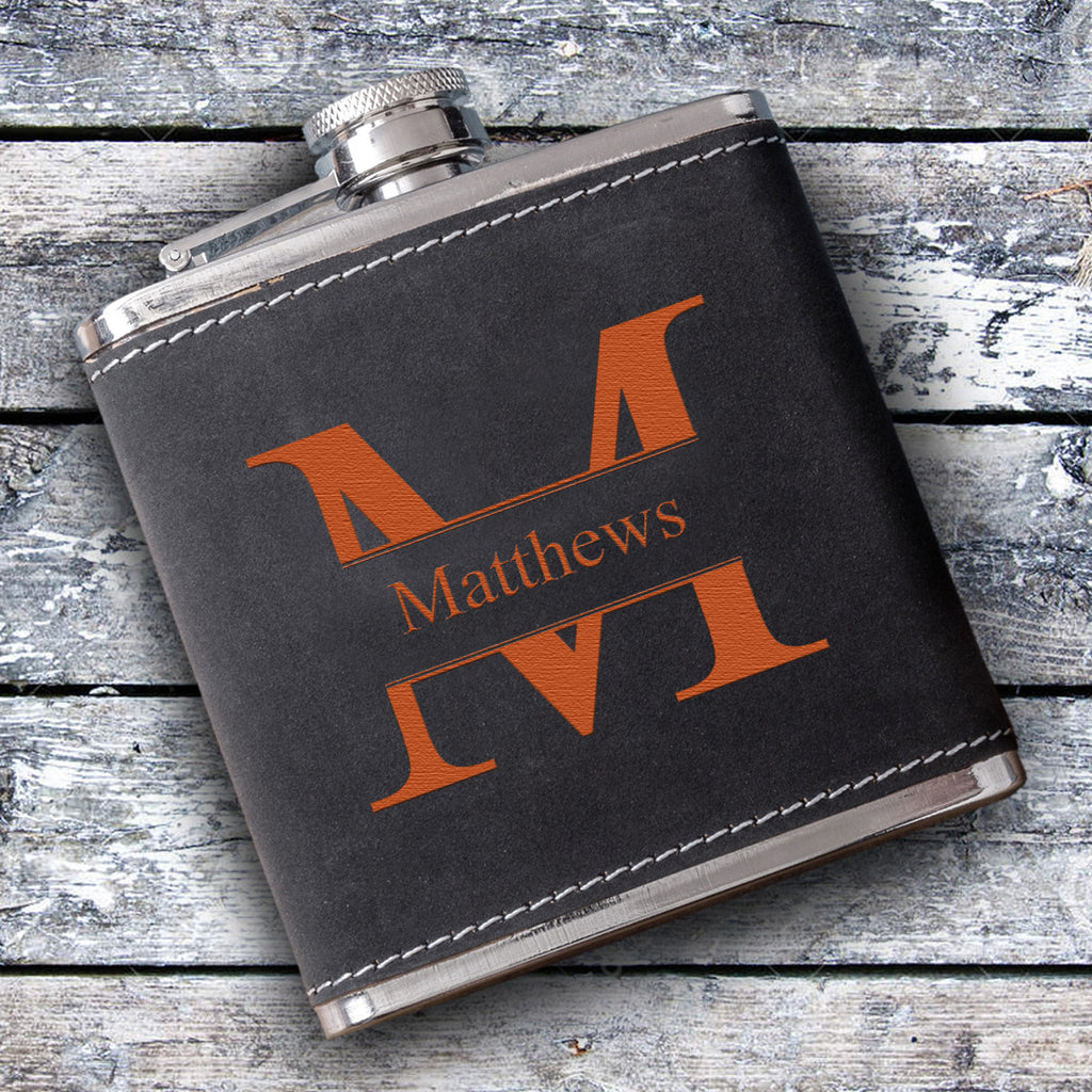 Silverton Monogrammed 6 oz. Stainless Steel and Suede Flask