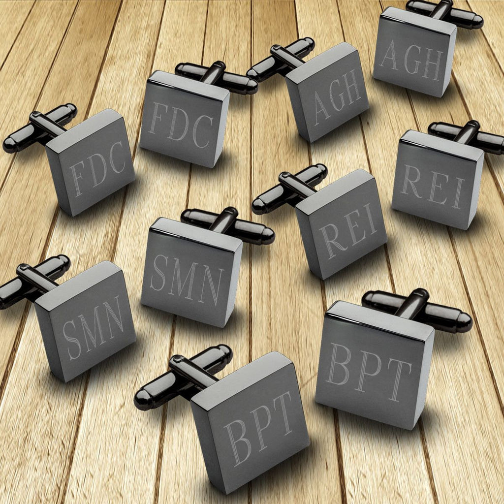 Personalized Cufflinks - Set of 5 - Gunmetal - Square - Groomsmen Gifts