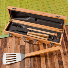 Personalized Set of 5 Grilling Set with Bamboo Case-