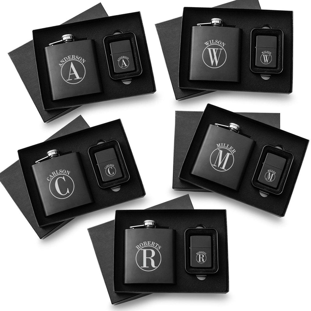 Personalized Black Flasks & Lighters - Gift Set of 5