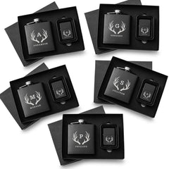 Personalized Black Flasks & Lighters - Gift Set of 5-Flasks-JDS-Antlers-