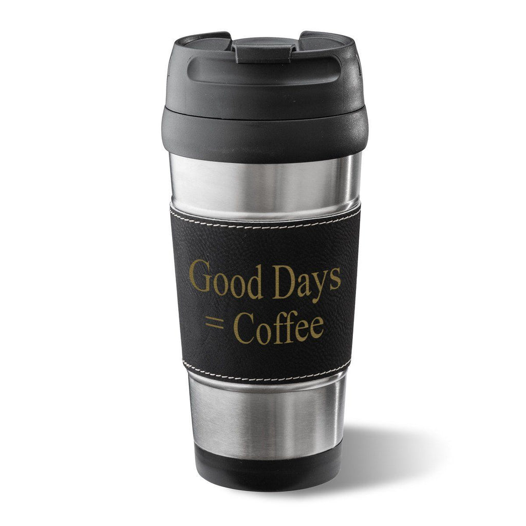 Personalized Black Leatherette Tumbler