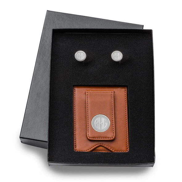 Engraved Leather Wallet & Monogrammed Cufflinks Gift Set-Brown-