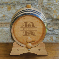 Personalized Whiskey Barrel - Monogrammed Oak Barrel - 2 Liter-Filigree-