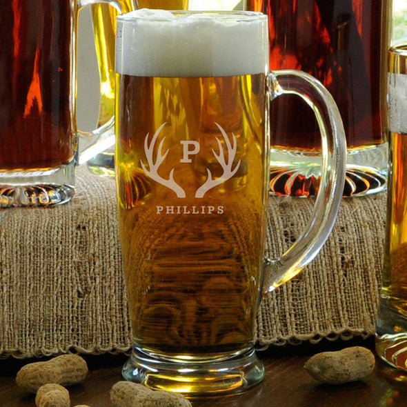 Personalized Beer Mugs - Glass - Slim - Groomsmen - 18 oz.-Antlers-