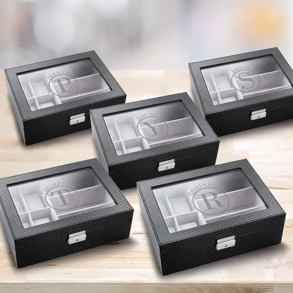 Personalized Watch Box - Set of 5 - Sunglasses Box - Combo - Monogram - Groomsman Gifts-Circle-
