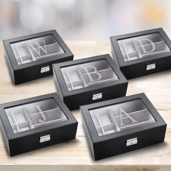 Personalized Watch Box - Set of 5 - Sunglasses Box - Combo - Monogram - Groomsman Gifts-Modern-