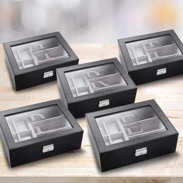 Personalized Watch Box - Set of 5 - Sunglasses Box - Combo - Monogram - Groomsman Gifts-Stamped-