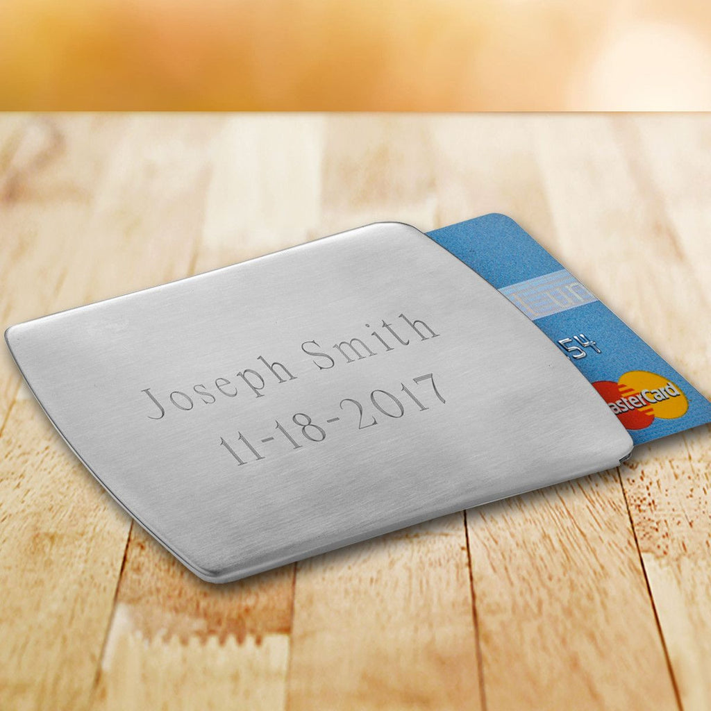 Personalized Stainless Steel Business Card Holder for Groomsmen