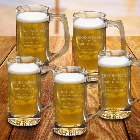 Set of 5 12 oz. Groomsmen Sports Beer Mugs