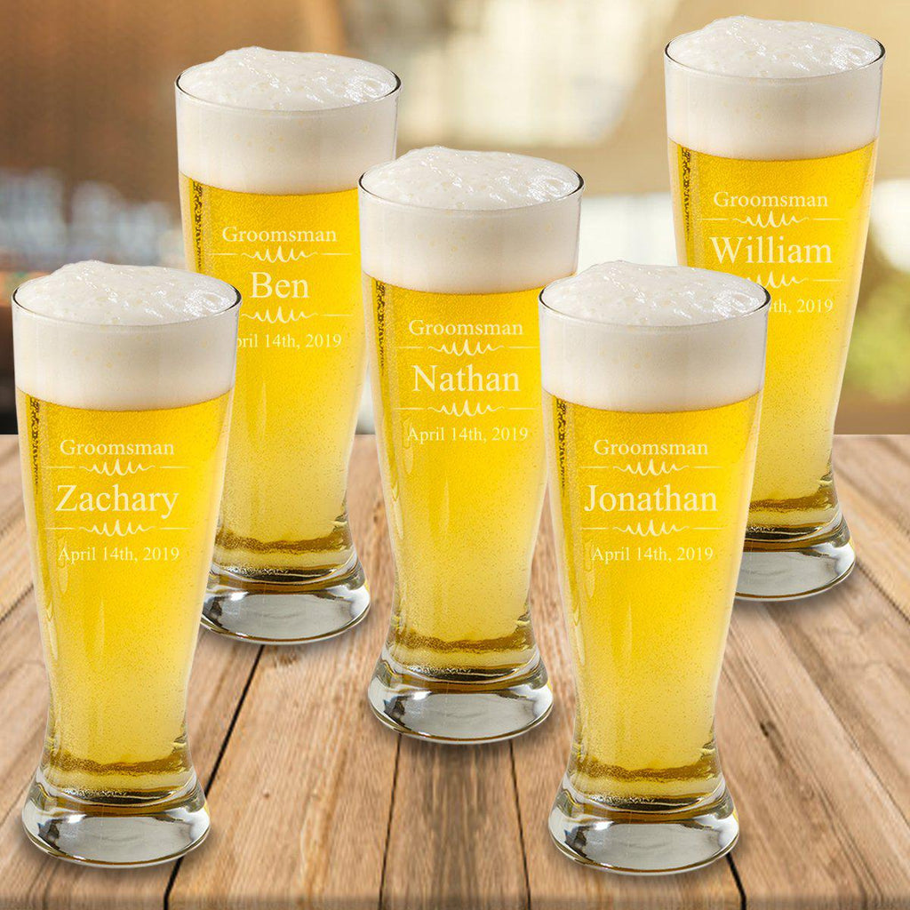 Personalized Set of 5 Groomsmen Beer Glasses - Pilsner - Glass - Groomsmen - 20 oz.