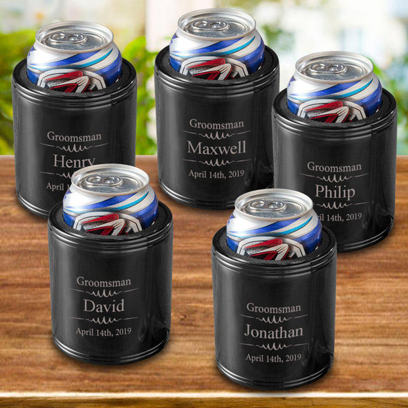 Personalized Groomsmen Can Coolers - Black - Stainless Steel