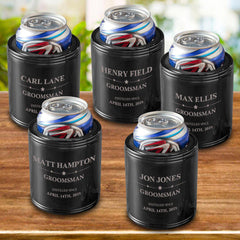 Personalized Groomsmen Can Coolers - Black - Stainless Steel - Groomsmen Gifts Set