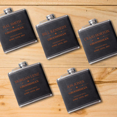 Set of 5 6oz. Suede Flask with Orange Lettering