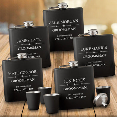Personalized Matte Black Flasks Set of 5 with Shot Glasses