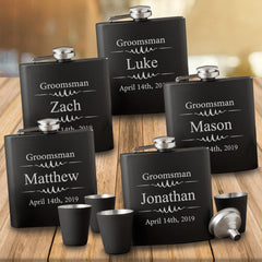 Personalized Groomsmen Set of 5 Shot Glasses - Personalized Flask - Matte Black - 6 oz.