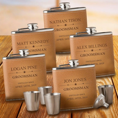 Personalized Groomsmen Set of 5 Flask & Shot Glasses - Tan Hide