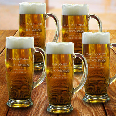 Set of 5  Groomsmen Ferdinand 18 oz. Mugs