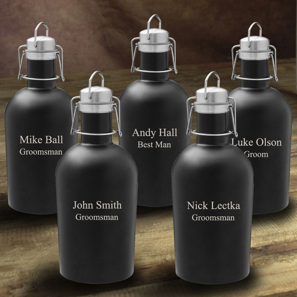 Personalized Matte Black Beer Growlers - Set of 5