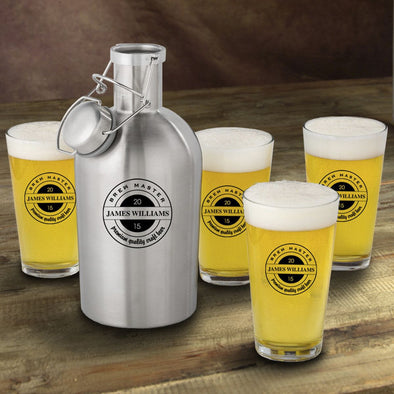 Stainless Steel Beer Growler with Pint Glass Set - Personalized Beer Growler and Pint Glass Set - Personalized Beer Glass Set for Groomsmen-BrewMaster-