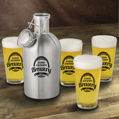 Stainless Steel Beer Growler with Pint Glass Set-Groomsmen Gifts