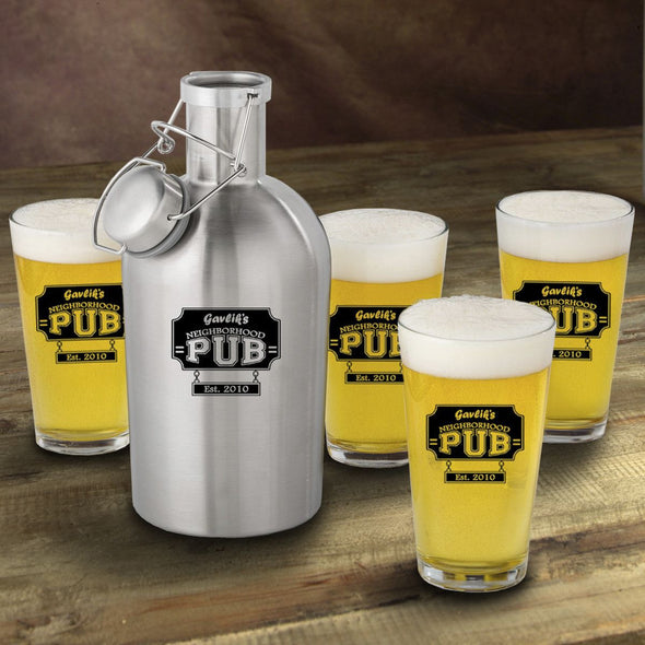 Stainless Steel Beer Growler with Pint Glass Set - Personalized Beer Growler and Pint Glass Set - Personalized Beer Glass Set for Groomsmen-NeighborhoodPub-