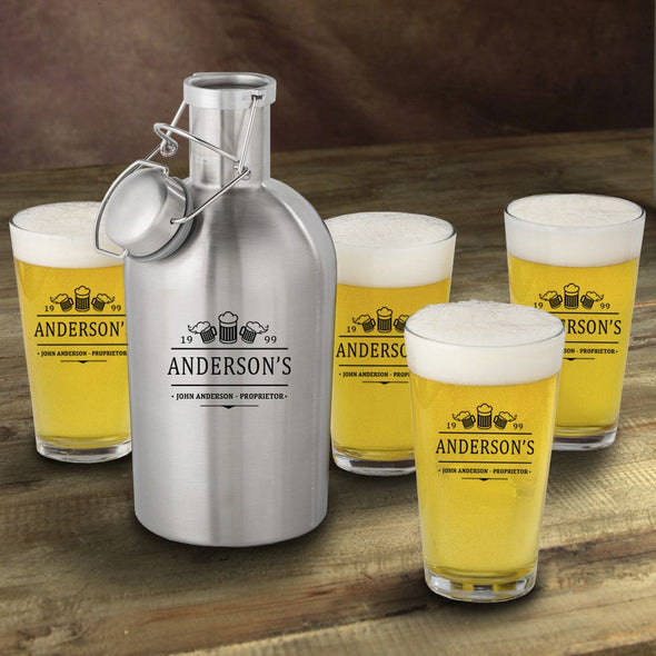 Stainless Steel Beer Growler with Pint Glass Set - Personalized Beer Growler and Pint Glass Set - Personalized Beer Glass Set for Groomsmen-3Beers-
