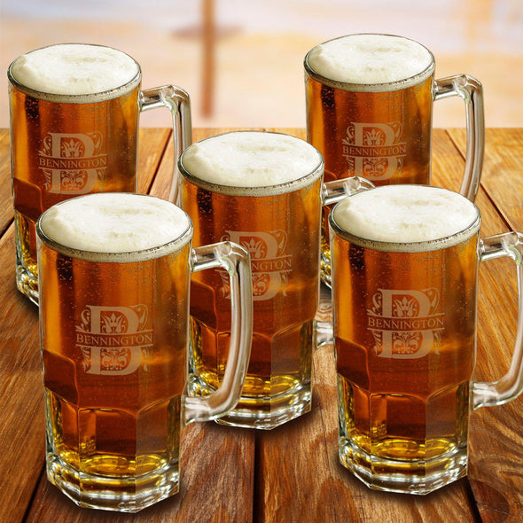 Personalized Groomsmen Glass Beer Mugs Set of 5 - 32 oz.-Barware-JDS-Filigree-