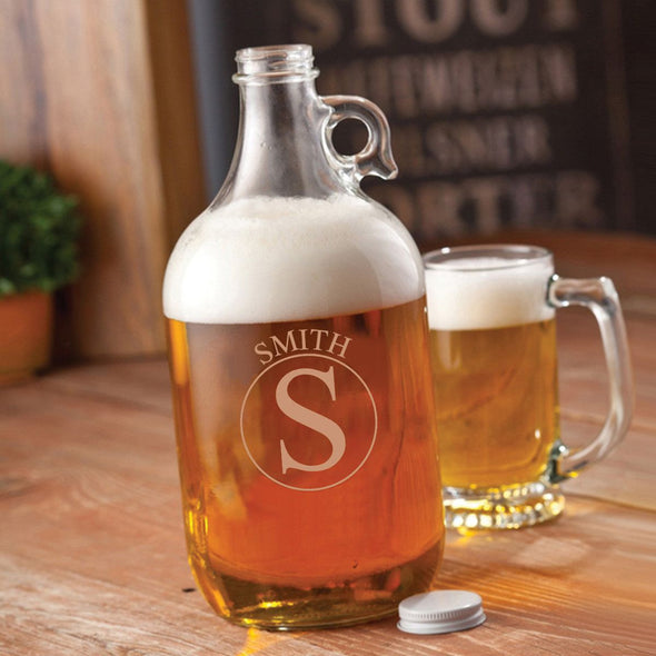 Personalized Growler - Beer - Glass - Groomsmen - 64 oz.-Circle-