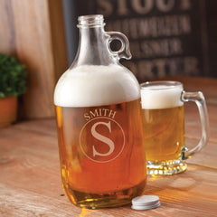 Monogrammed Clear Glass Beer Growler-Groomsmen Gifts