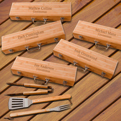 Personalized Set of 5 Grilling Set - Bamboo Case - Stainless Steel-2Lines-