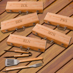Personalized Set of 5 Grilling Set - Bamboo Case - Stainless Steel-3Initials-
