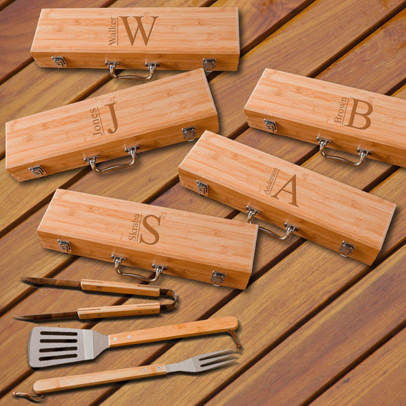 Personalized Set of 5 Grilling Set - Bamboo Case - Stainless Steel-Modern-
